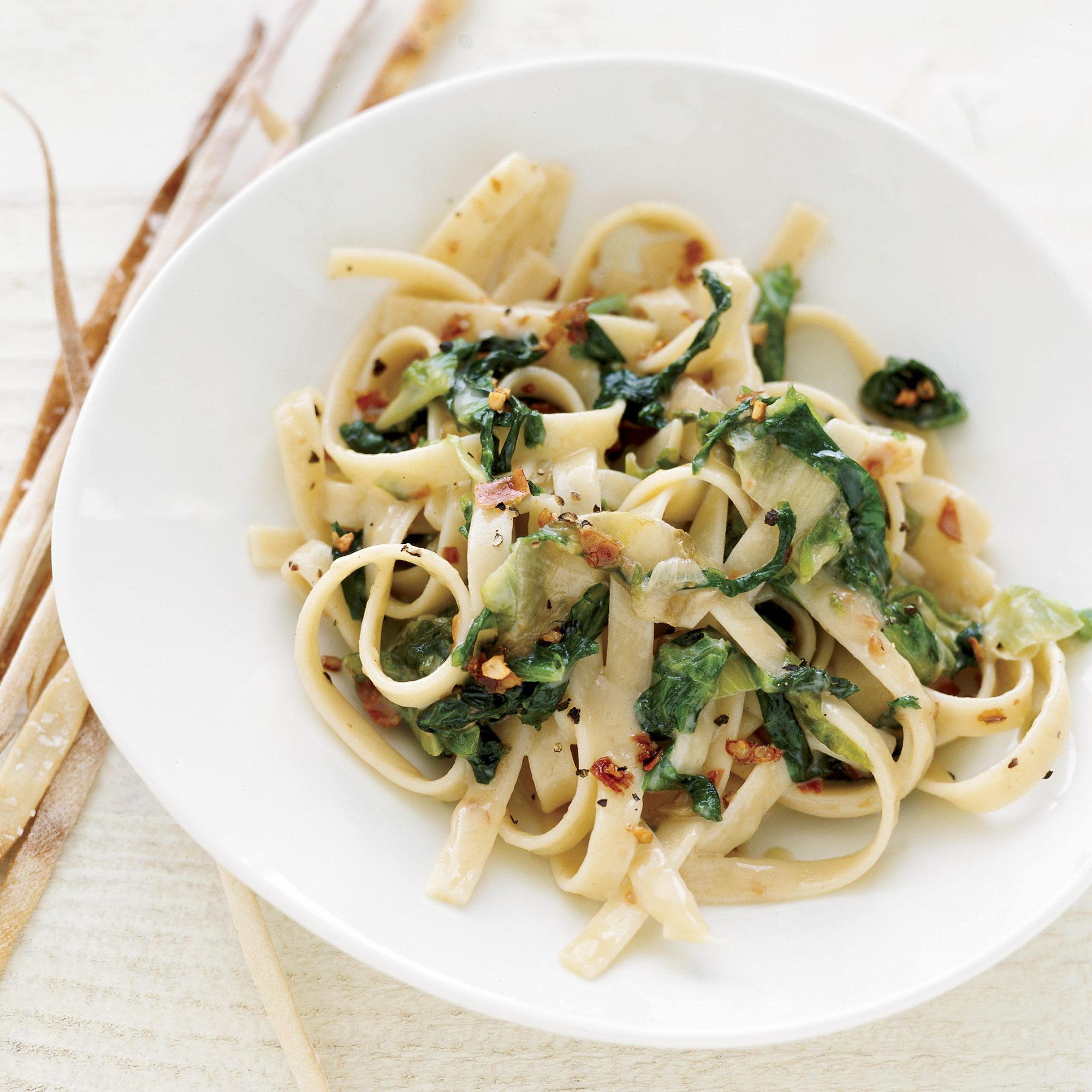 Fettuccine with Escarole and Brie