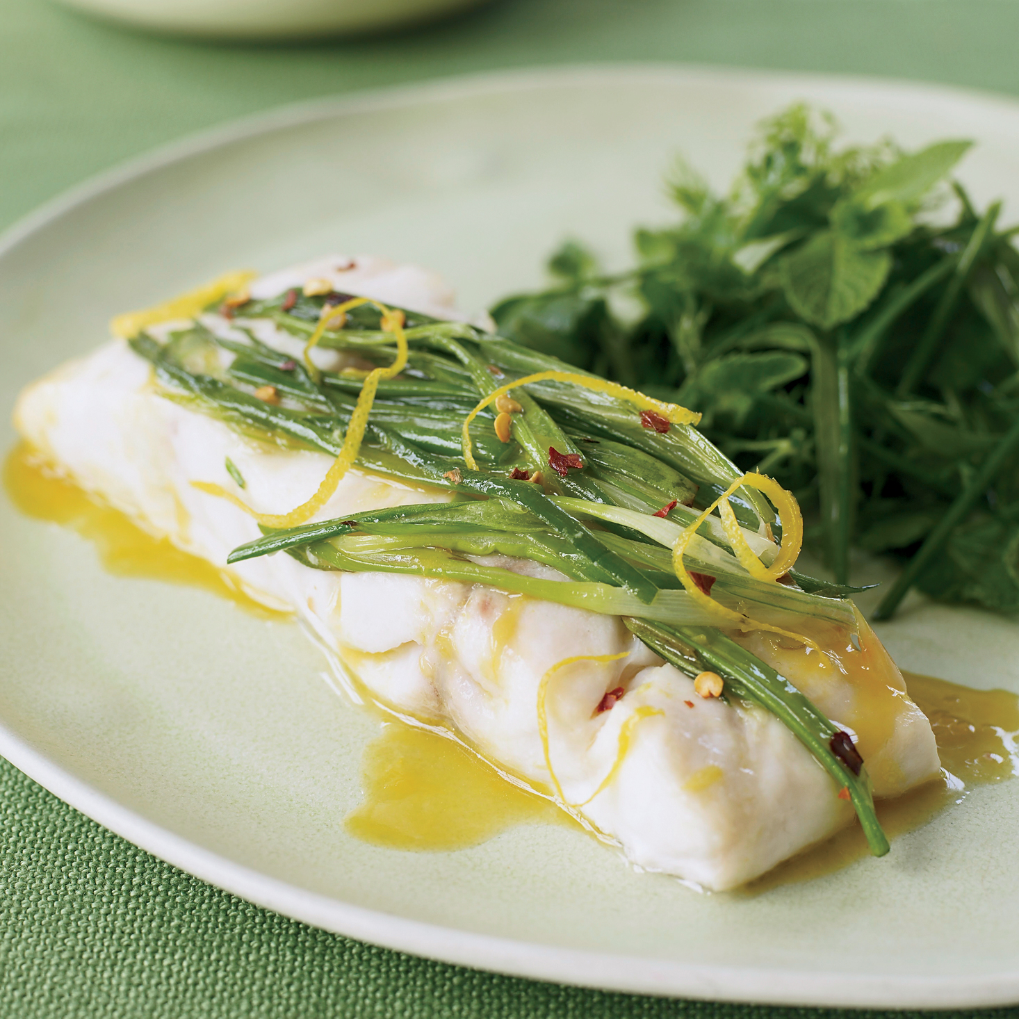 Wild Striped Bass with Scallions and Herb Salad