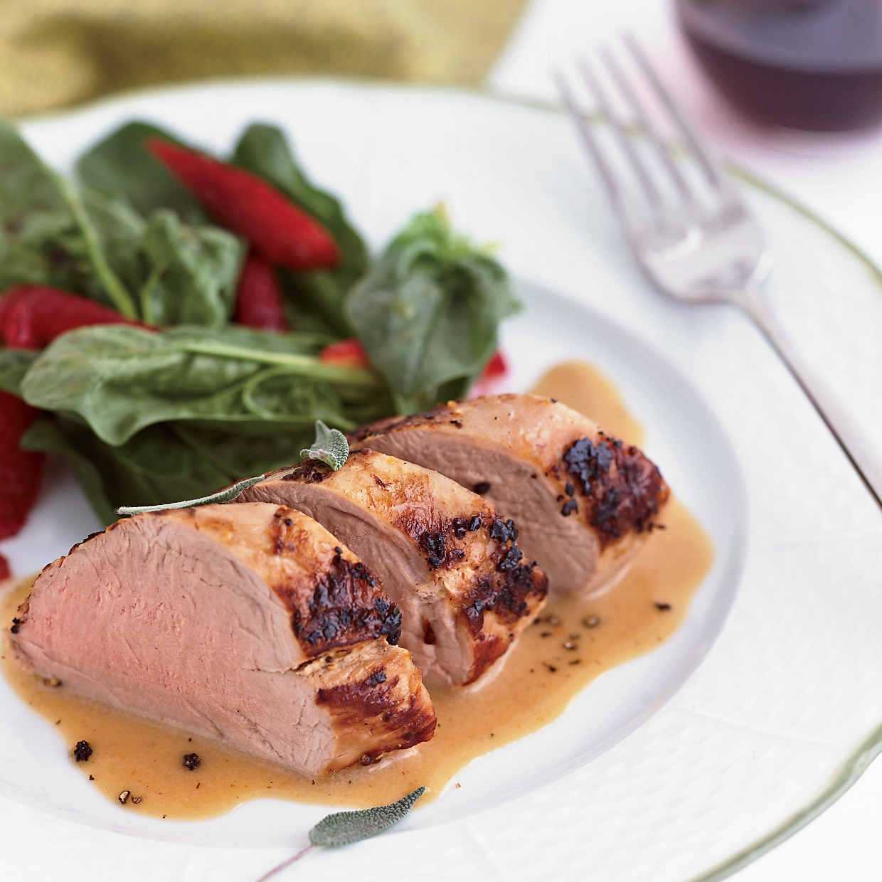 Milk-Braised Pork Tenderloin with Spinach and Strawberry Salad