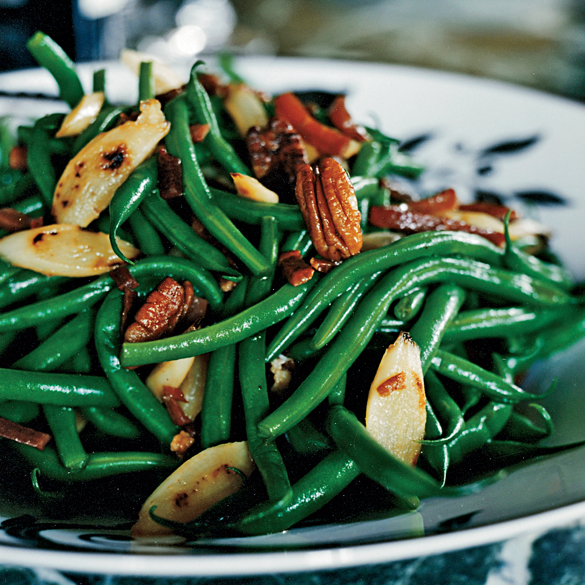 Green Beans And Salsify With Country Ham And Pecans Recipe