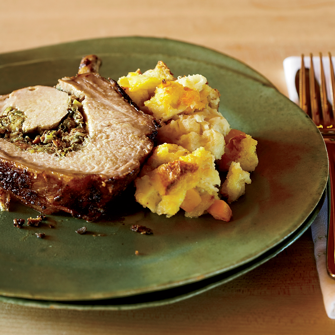 Roasted Rack of Pork with Sausage Stuffing Recipe - Bruce Aidells ...
