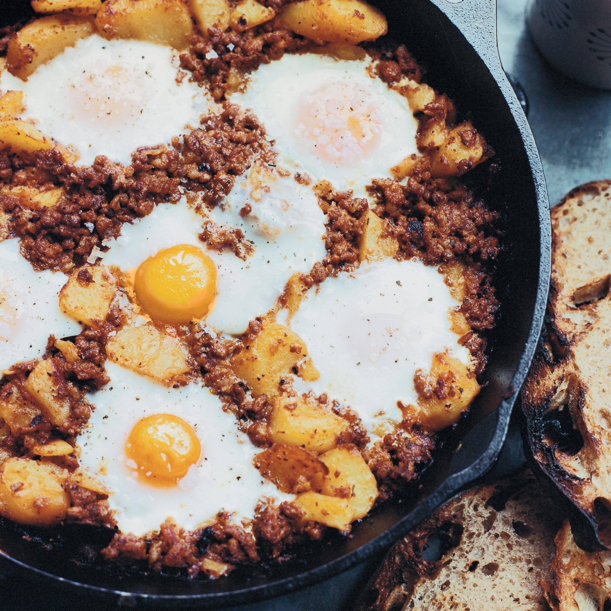 Baked Eggs with Chorizo and Potatoes Recipe - David Kinch | Food ...