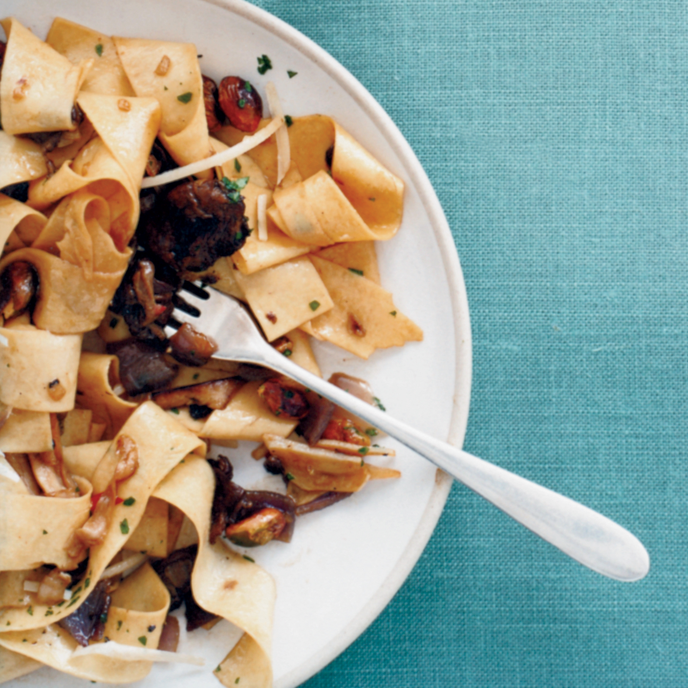 One-Dish Pasta recipes like Pappardelle with Porcini and Pistachios