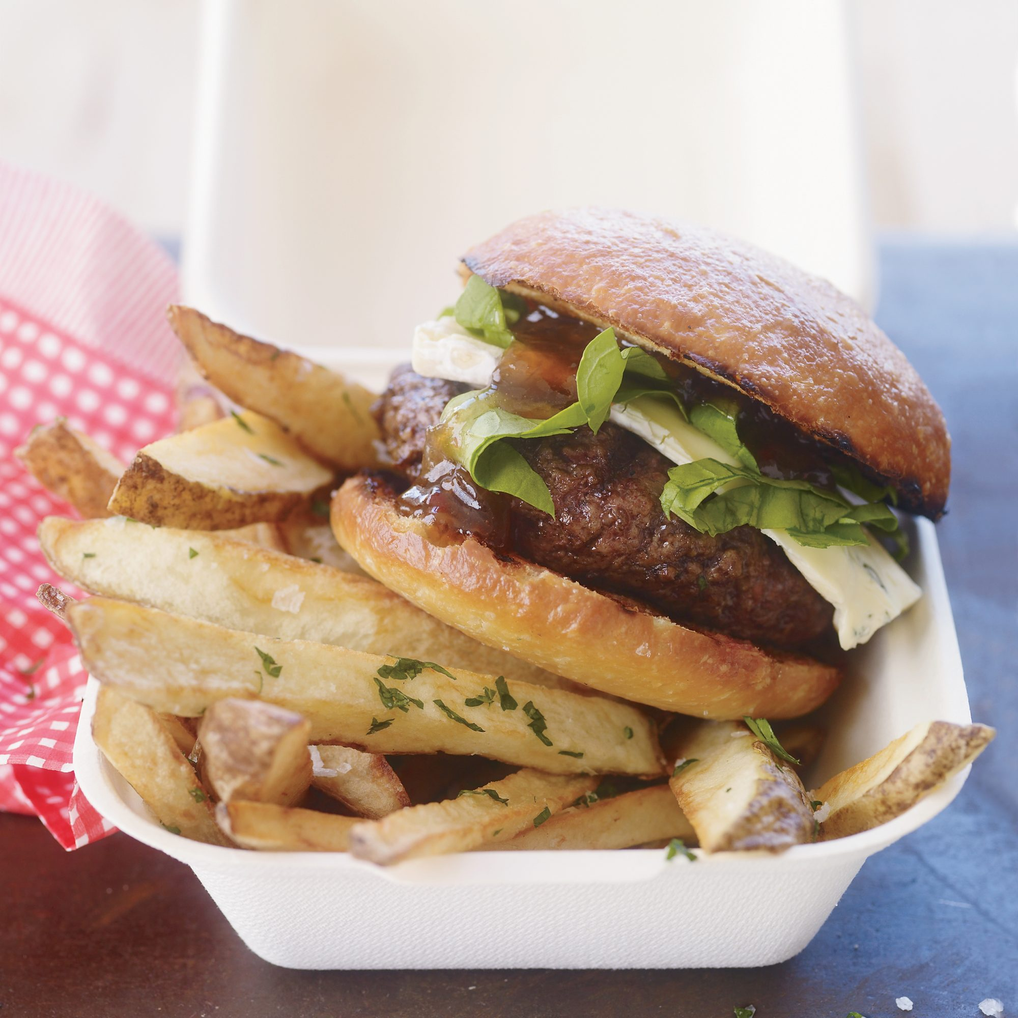 Cambozola Cheeseburgers with Herbed Fries