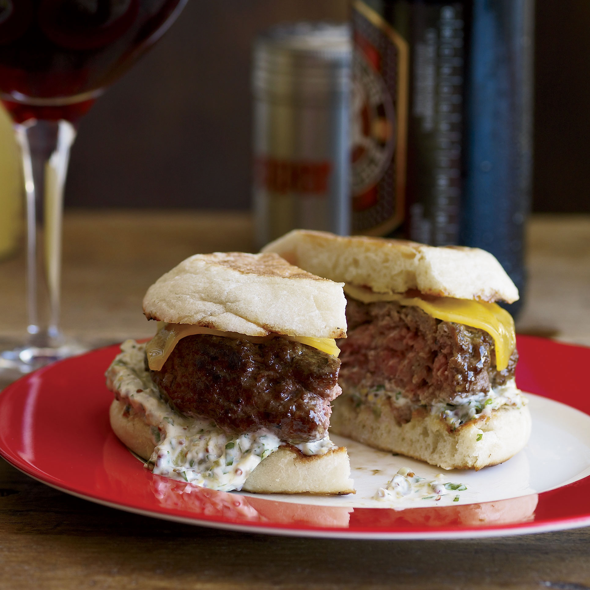 Beef-And-Lamb Burgers With Cheddar