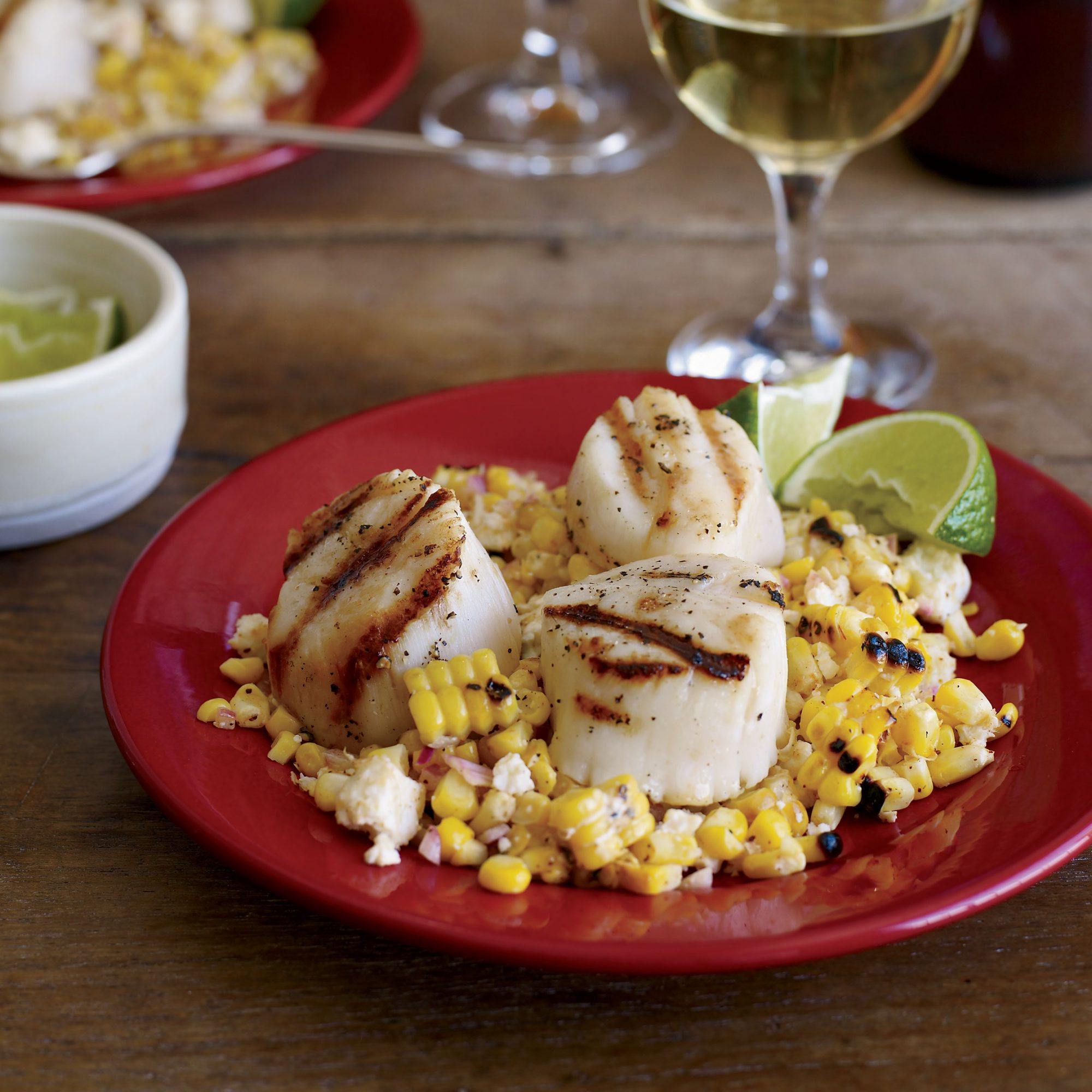 Grilled Scallops with Mexican Corn Salad Recipe - Nick ... Grilled Scallops Recipe