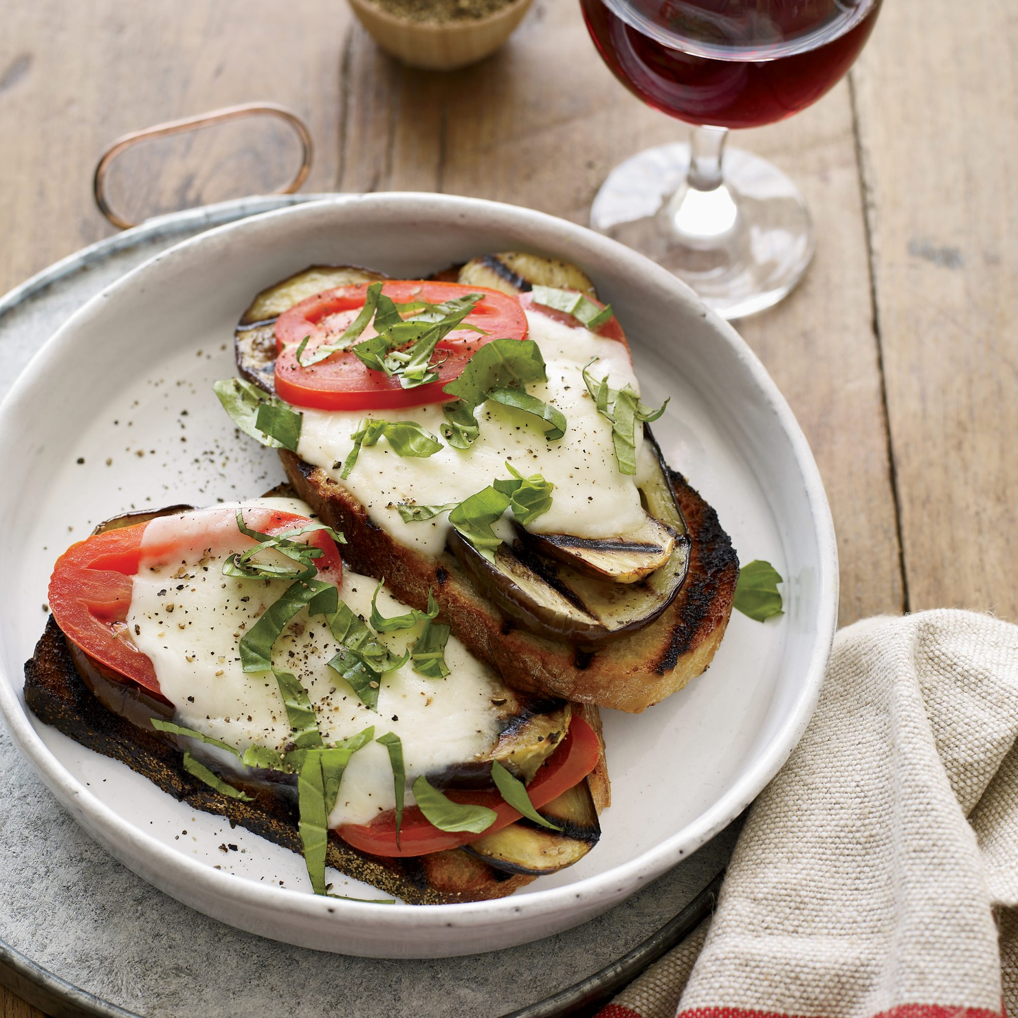 Open-Face Grilled Eggplant Sandwiches