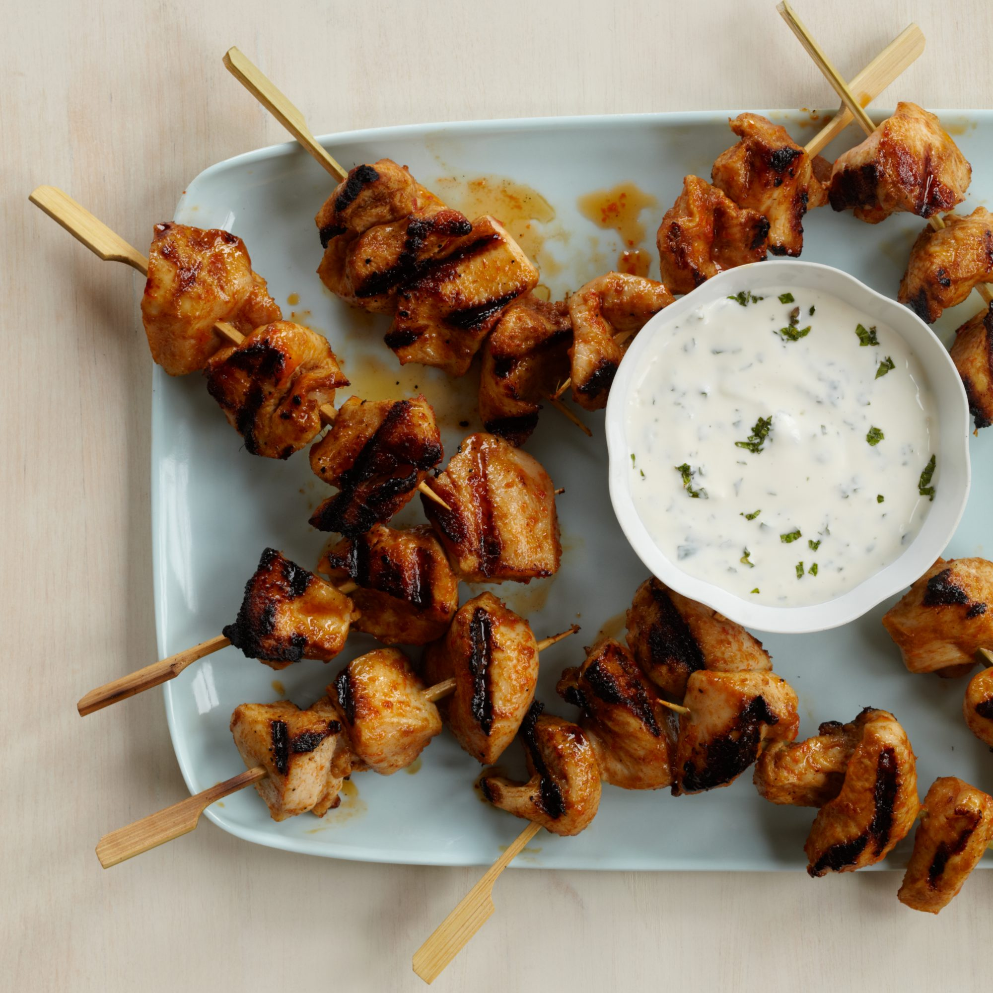 red curry chicken kebabs with minty yogurt sauce recipe kerry simon food wine. Black Bedroom Furniture Sets. Home Design Ideas
