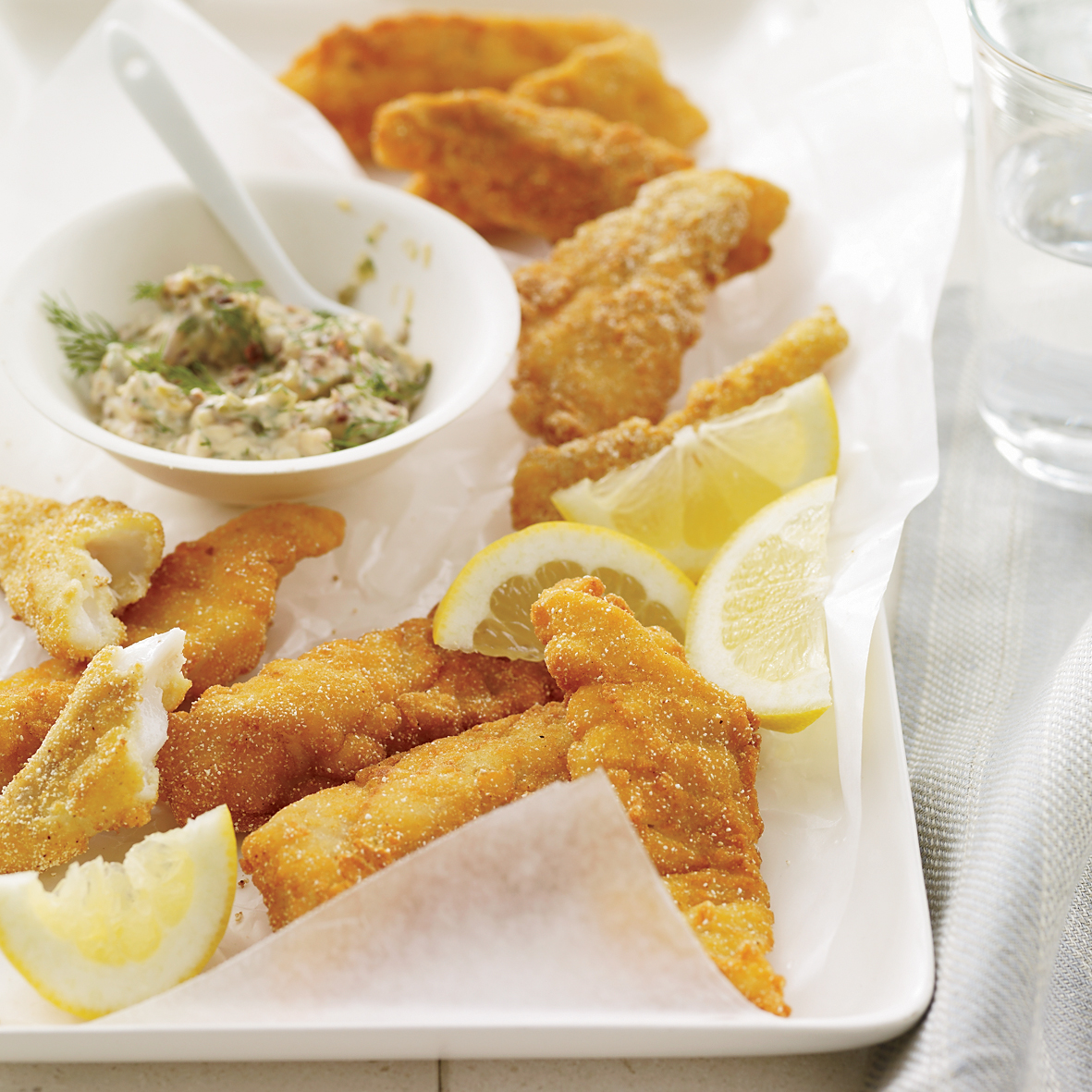 Crunchy Fish Sticks with Tartar Sauce