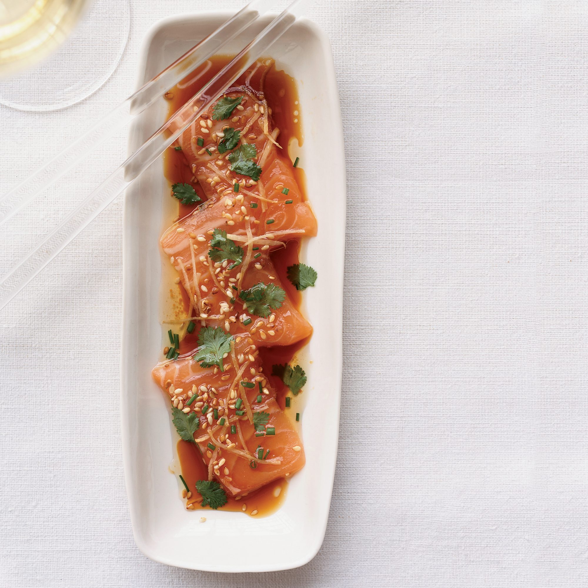 Salmon Sashimi with Ginger and Hot Sesame Oil