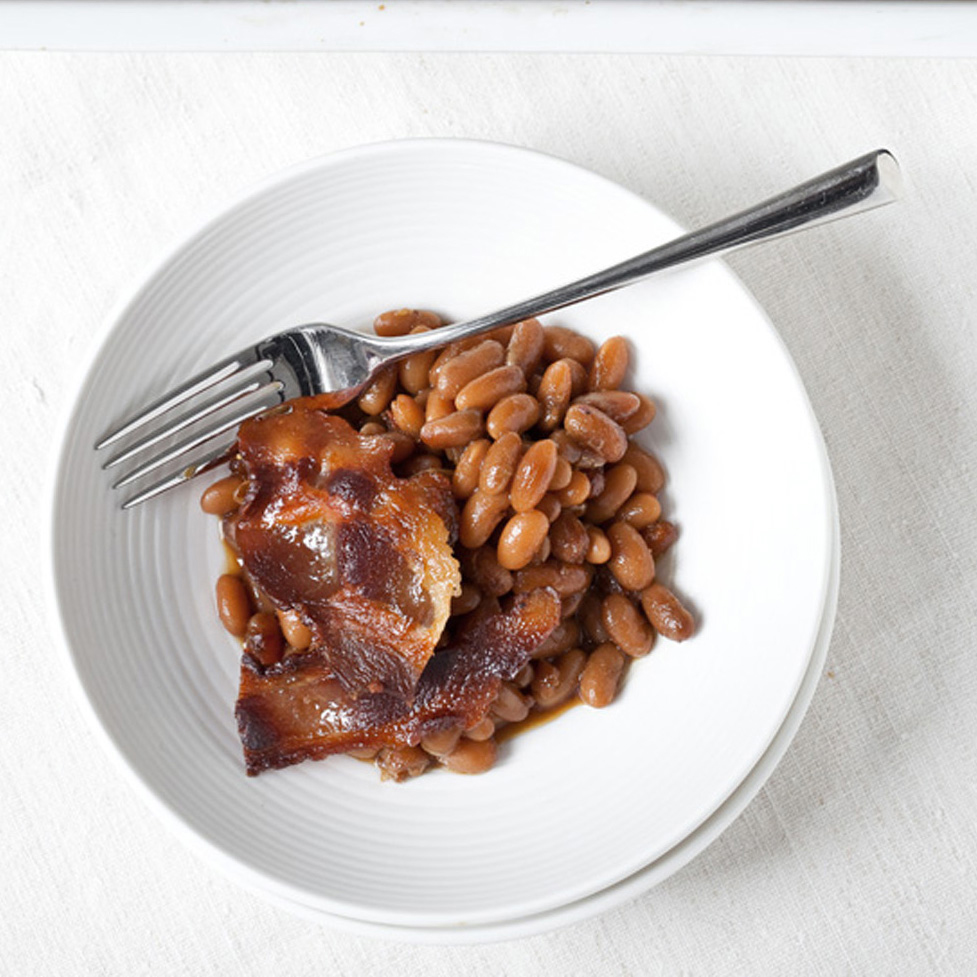 Baked Beans with Maple-Glazed Bacon Recipe - Laurence ...