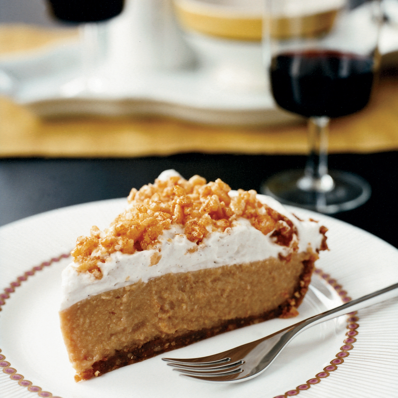 <p>Caramel Cream Pie with Crispy Rice Topping</p>