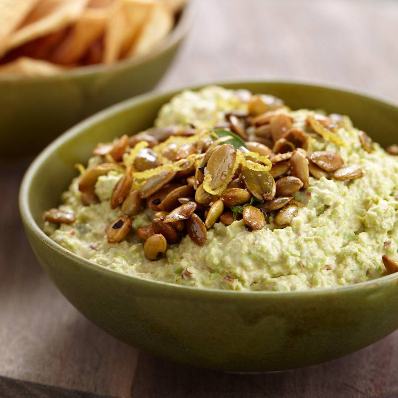 Goat Cheese-Edamame Dip with Spiced Pepitas Recipe - Rachel Soszynski ...