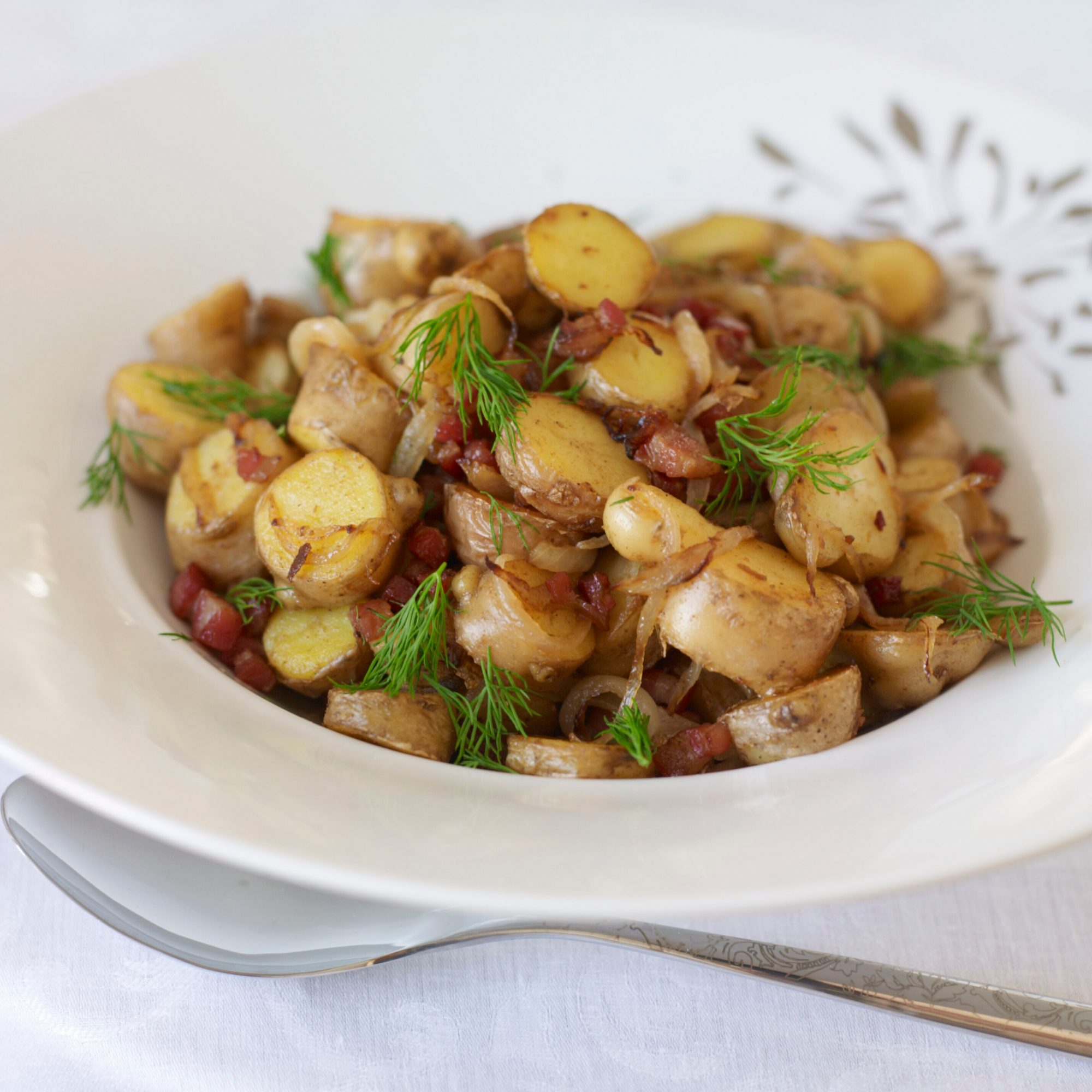 Pan-Roasted Fingerling Potatoes with Pancetta Recipe - Fabio..