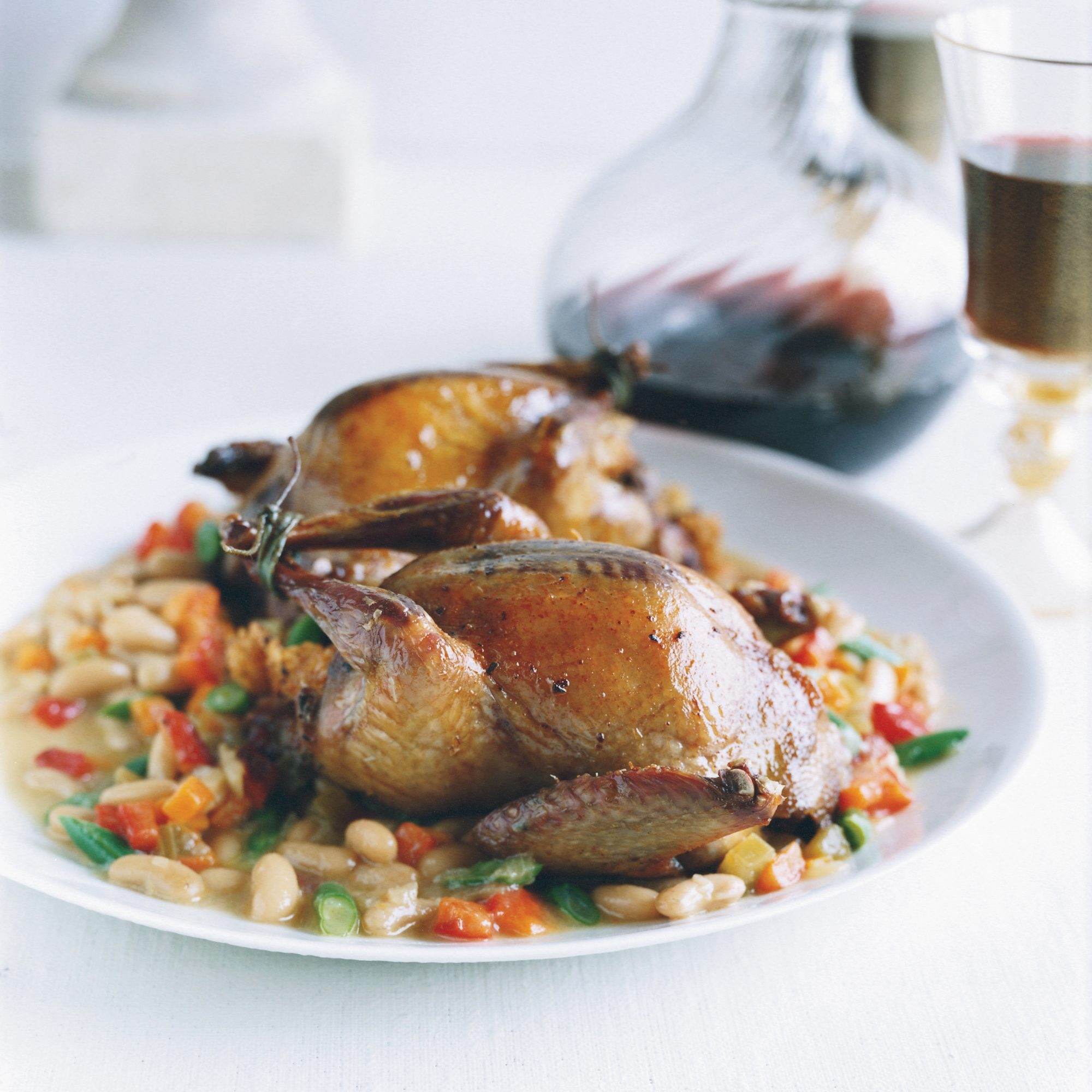Focaccia-Stuffed Squab with Bean Stew /