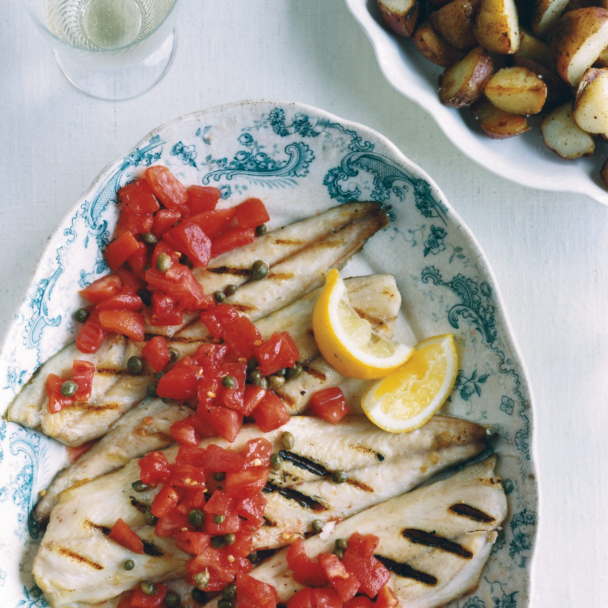 Grilled Mackerel with Sicilian Caper-Tomato Salsa /