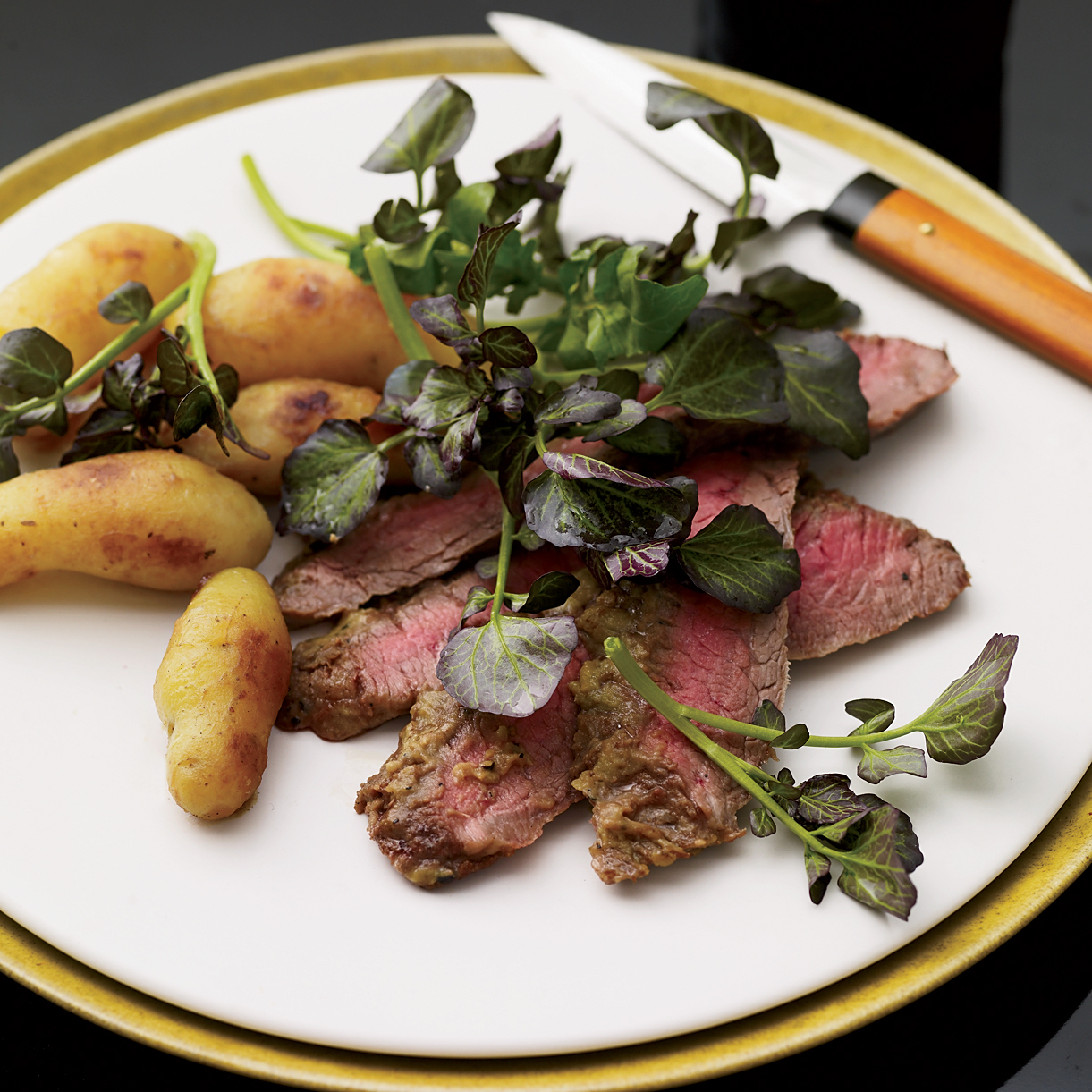 Wasabi Flank Steak and Miso-Glazed Potatoes Recipe - Takashi Yagihashi ...