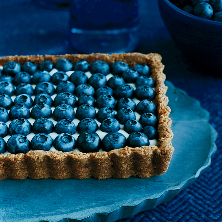 Honeyed Yogurt and Blueberry Tart with Ginger Crust
