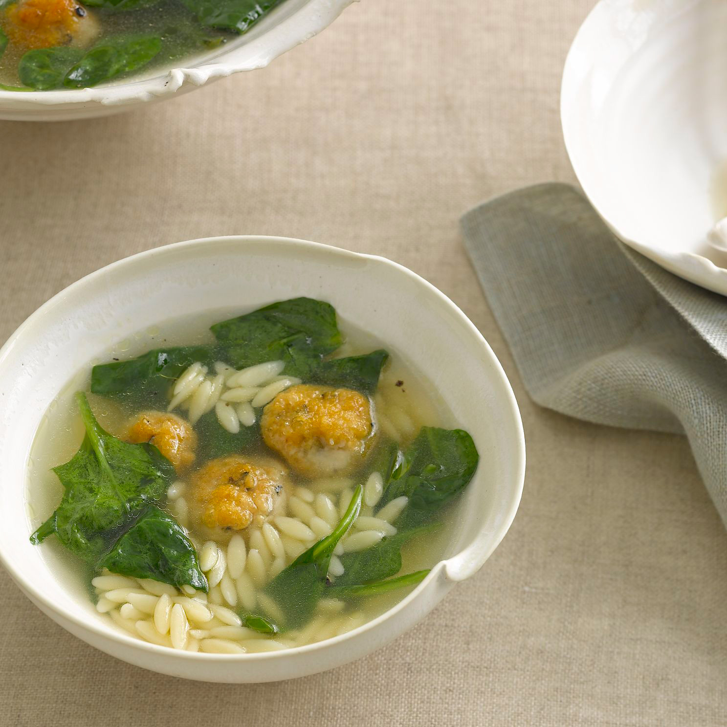 Chicken Meatball–and–Orzo Soup