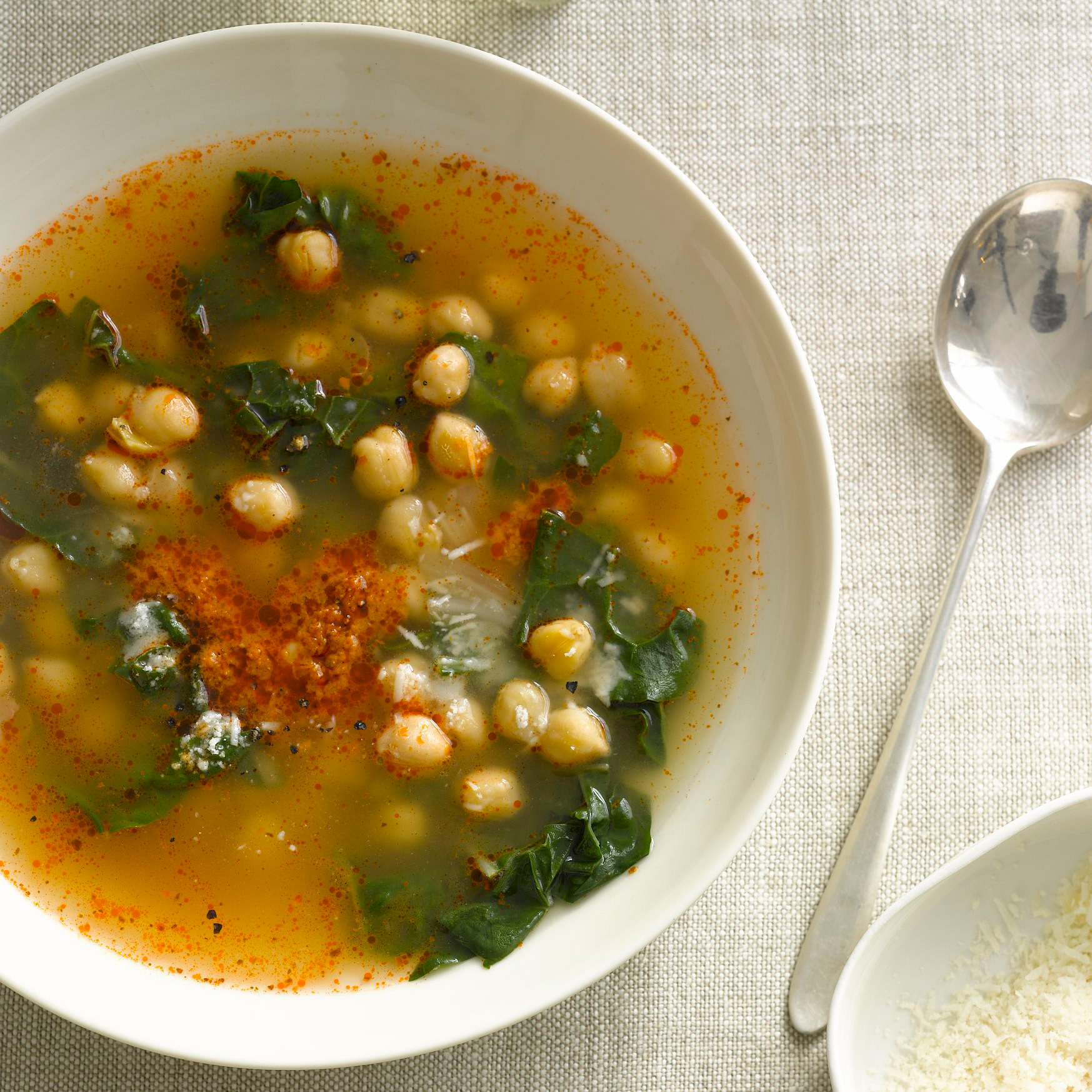 Chickpeas and Swiss Chard in Parmesan-and-Sun-Dried-Tomato Broth