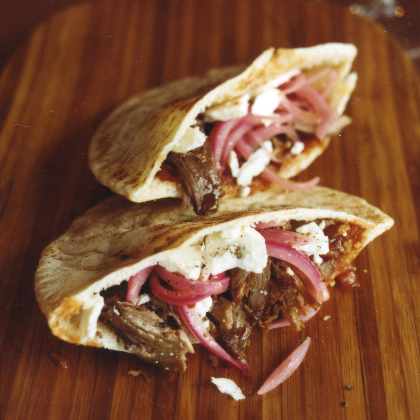 Lamb Pita Pockets with Tomato-Ginger Compote