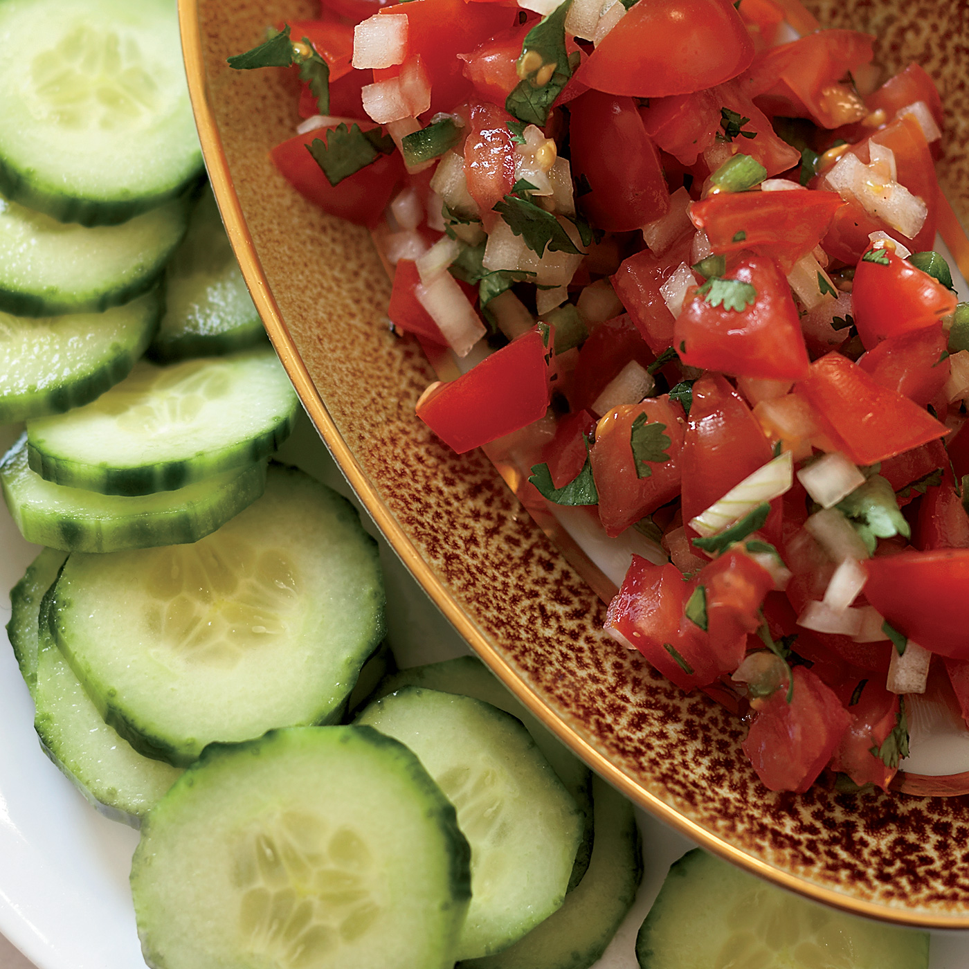 """Tomato Salsa with Cucumber """"Chips"""" Recipe"""