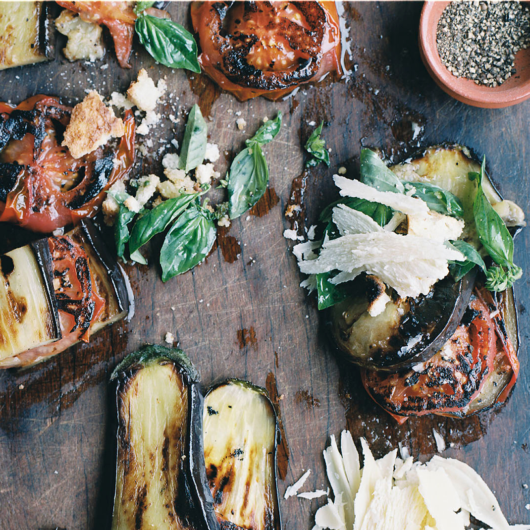 Grilled Eggplant and Tomatoes with Parmesan-Basil Crumbs Recipe