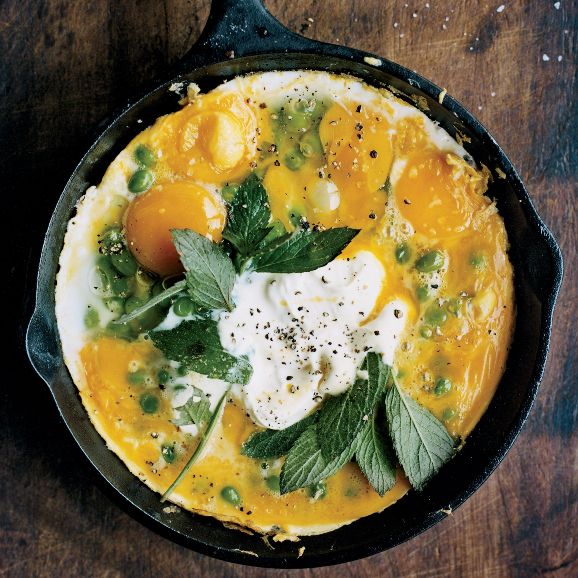 Pea Tortilla with Mint and Yogurt