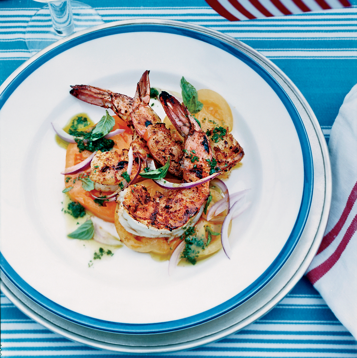 Barbecued Spiced Shrimp With Tomato Salad Recipe Bobby
