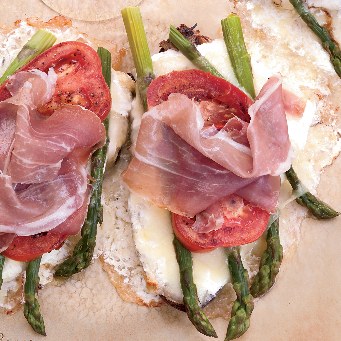 Image result for Asparagus, Prosciutto & Cheese Tartine with Olive Tapenade and Balsamic Vinegar Drizzle