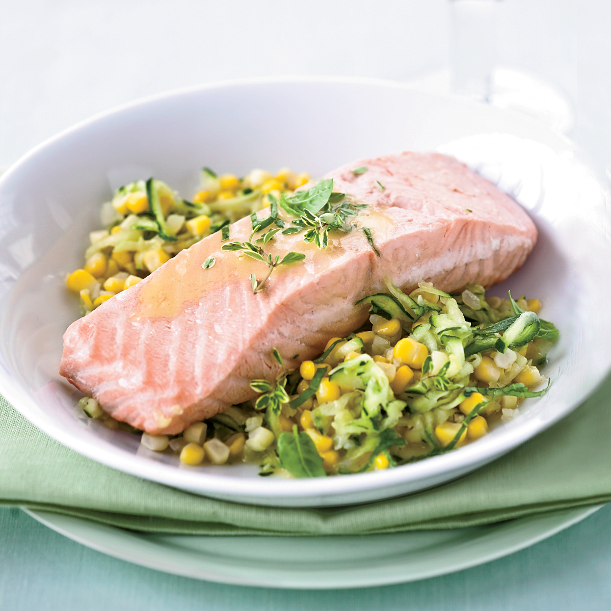 poached salmon with corn and white wine butter sauce