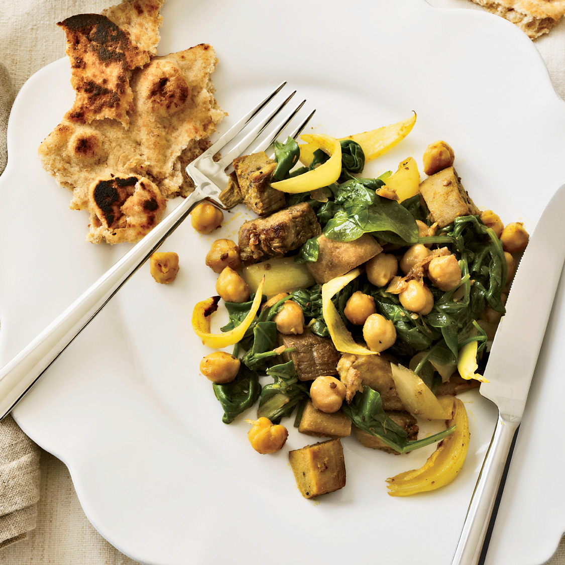 Curried Eggplant with Chickpeas and Spinach