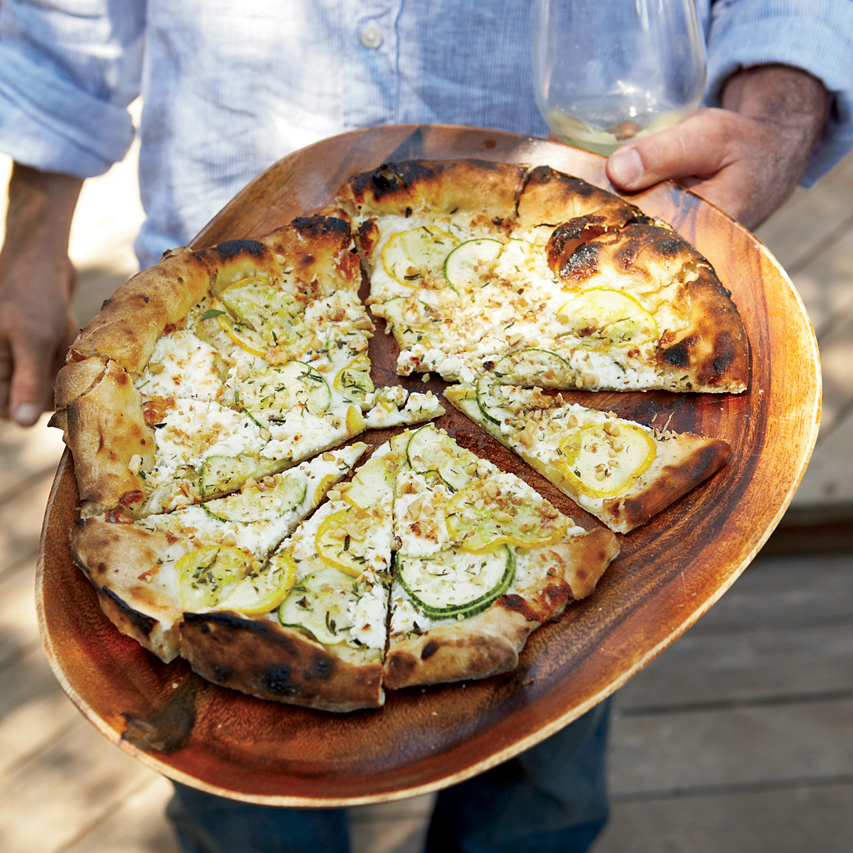 Homemade Pizza Recipes: Summer Squash Pizza with Goat Cheese and Walnuts