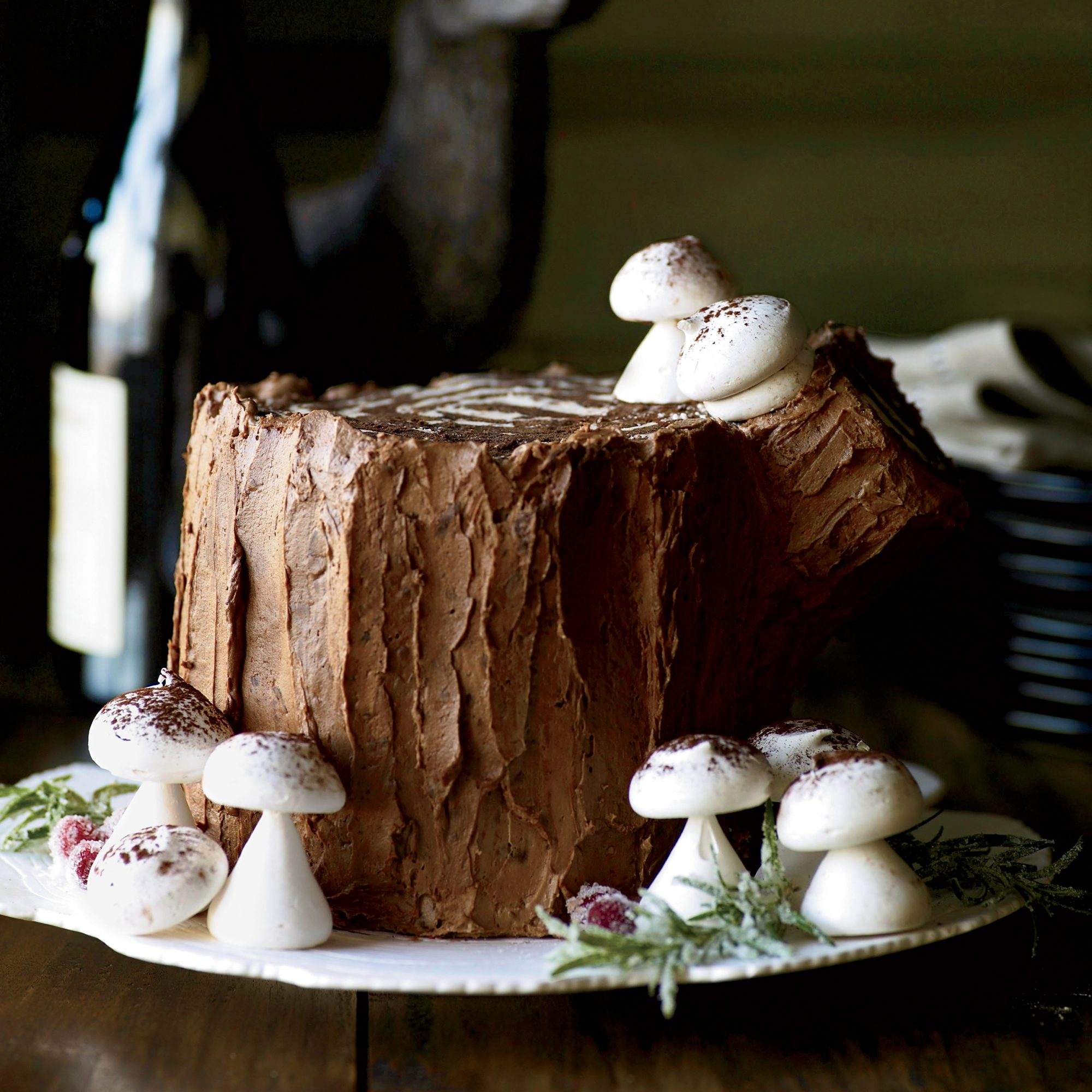 Christmas Dessert Chocolate-Malt Stump de Noël