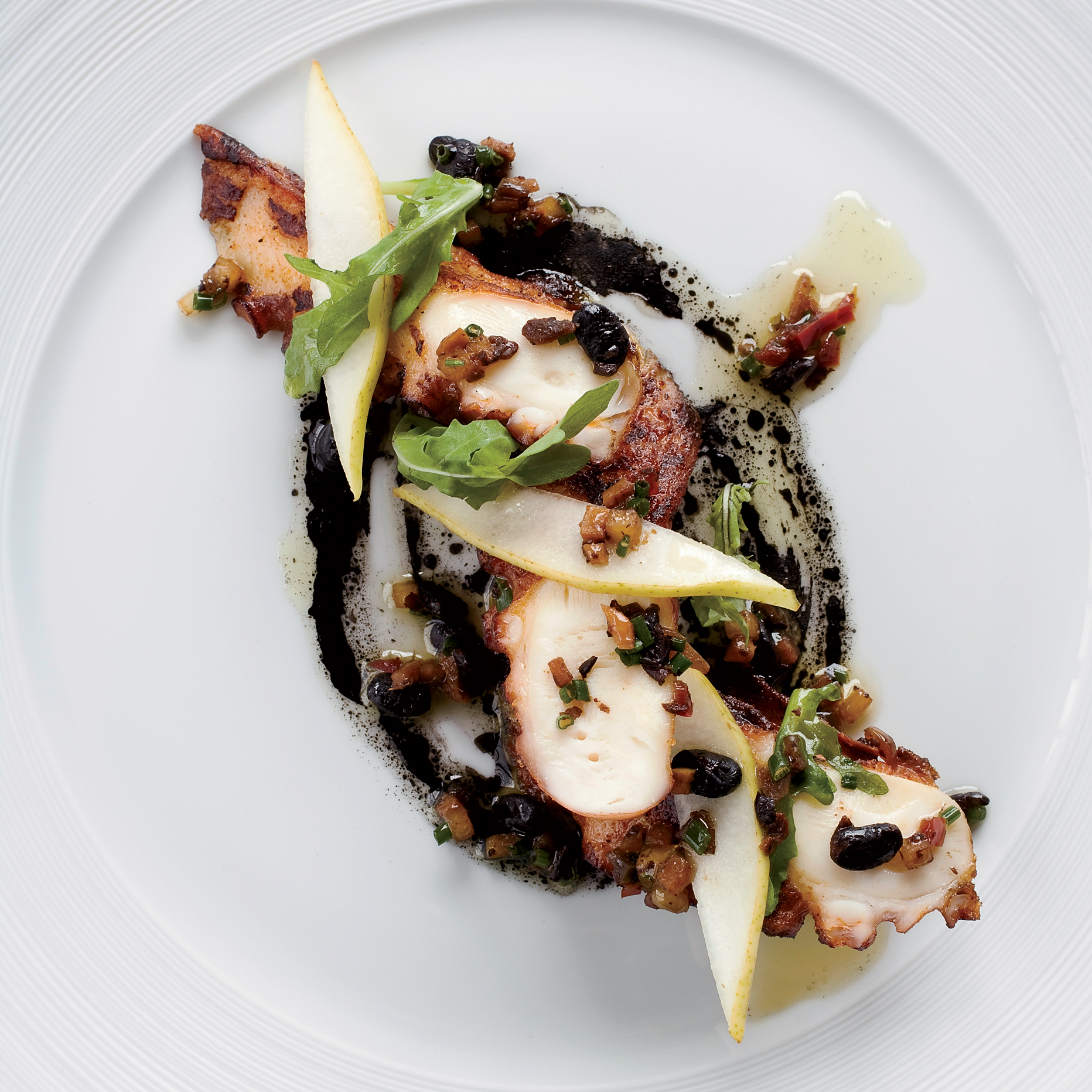 Octopus with Black Bean-Pear Sauce Recipe