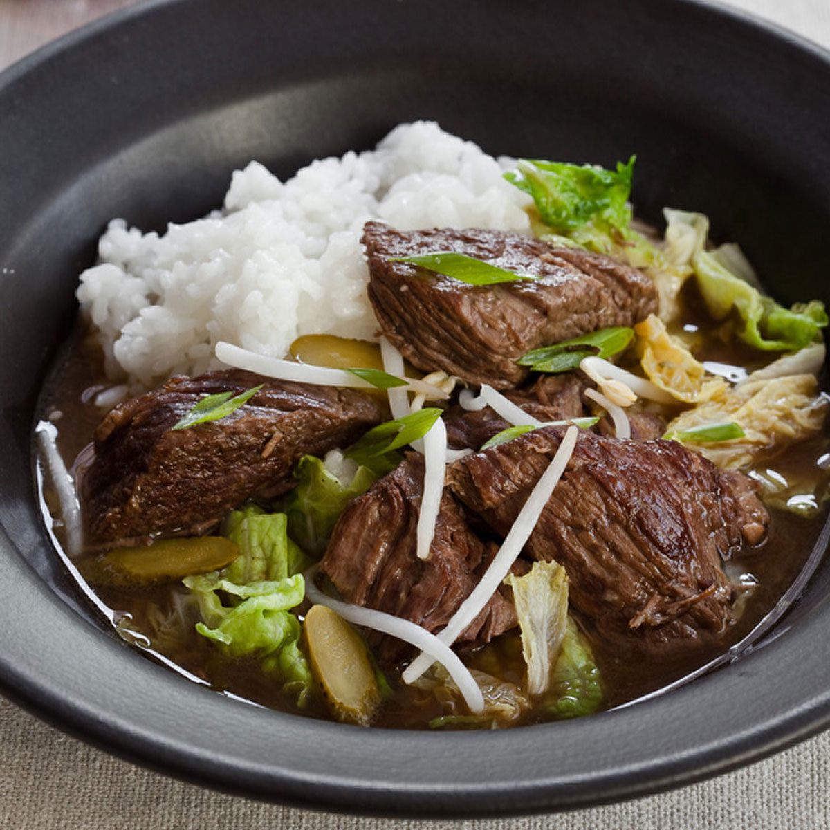 Korean Beef Stew with Napa Cabbage & Pickles