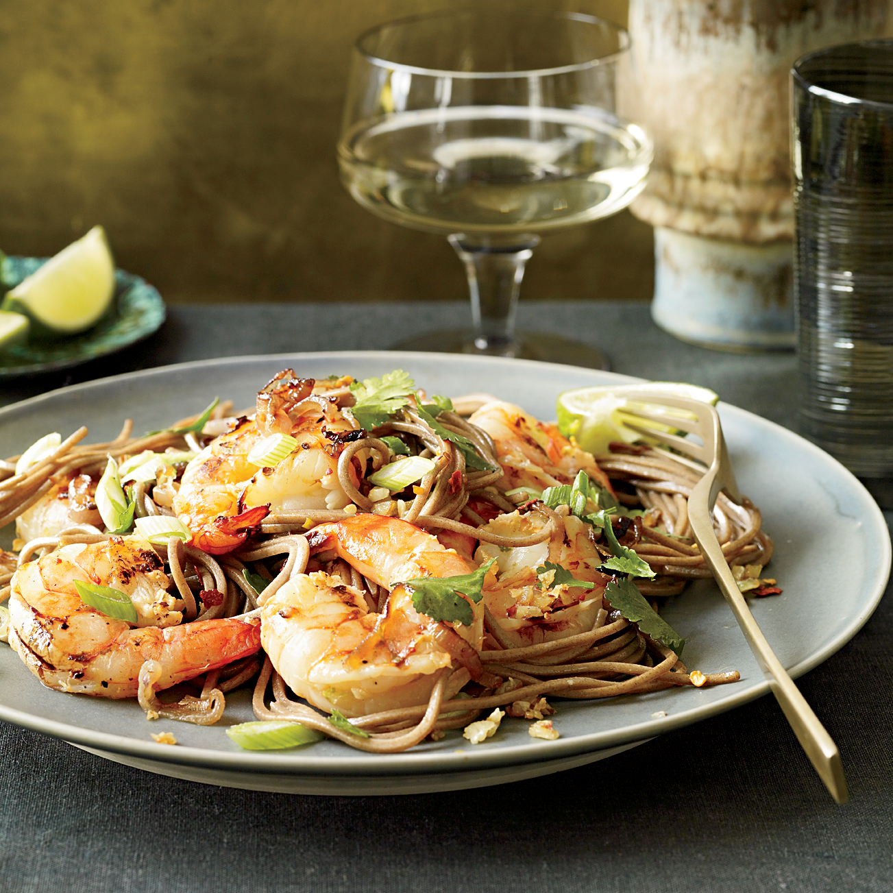 Food Wine: Soba Noodles With Grilled Shrimp And Cilantro Recipe