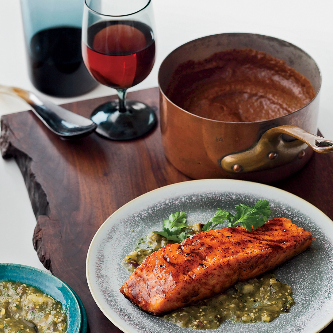Chile Honey Glazed Salmon With Two Sauces Recipe Bobby Flay Food Wine