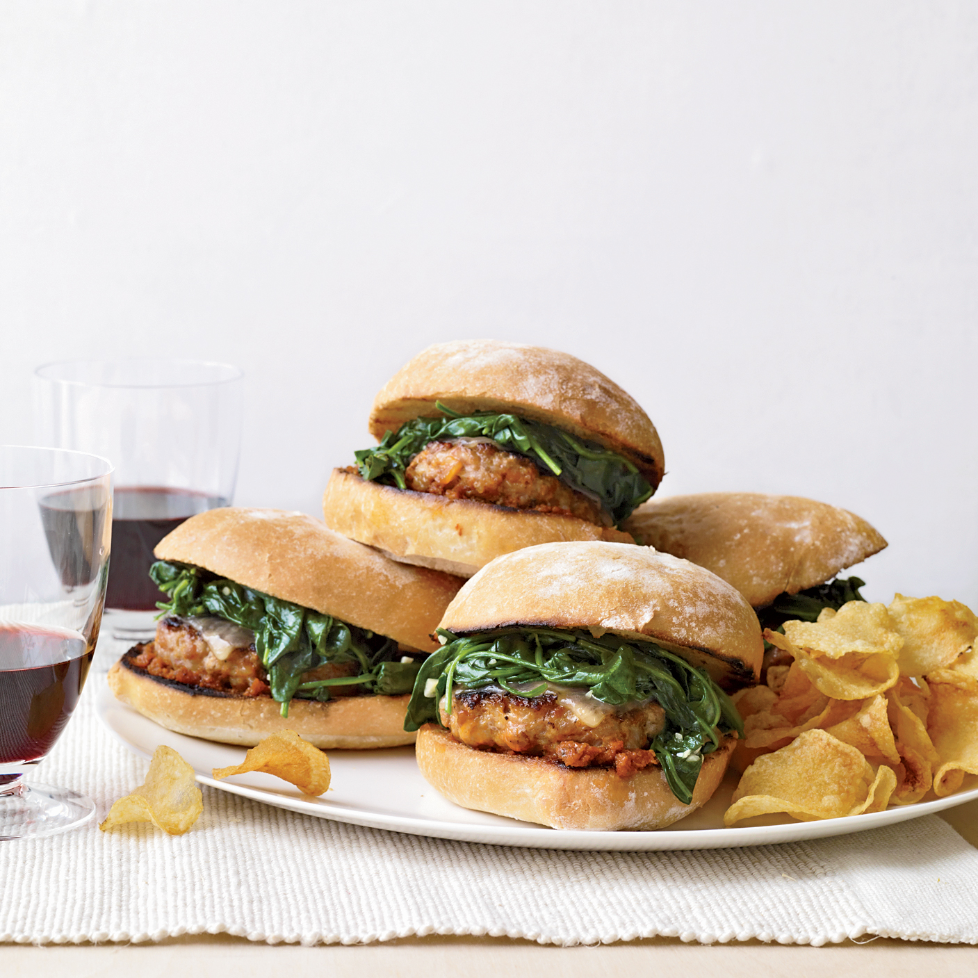 Italian-Sausage Burgers with Garlicky Spinach
