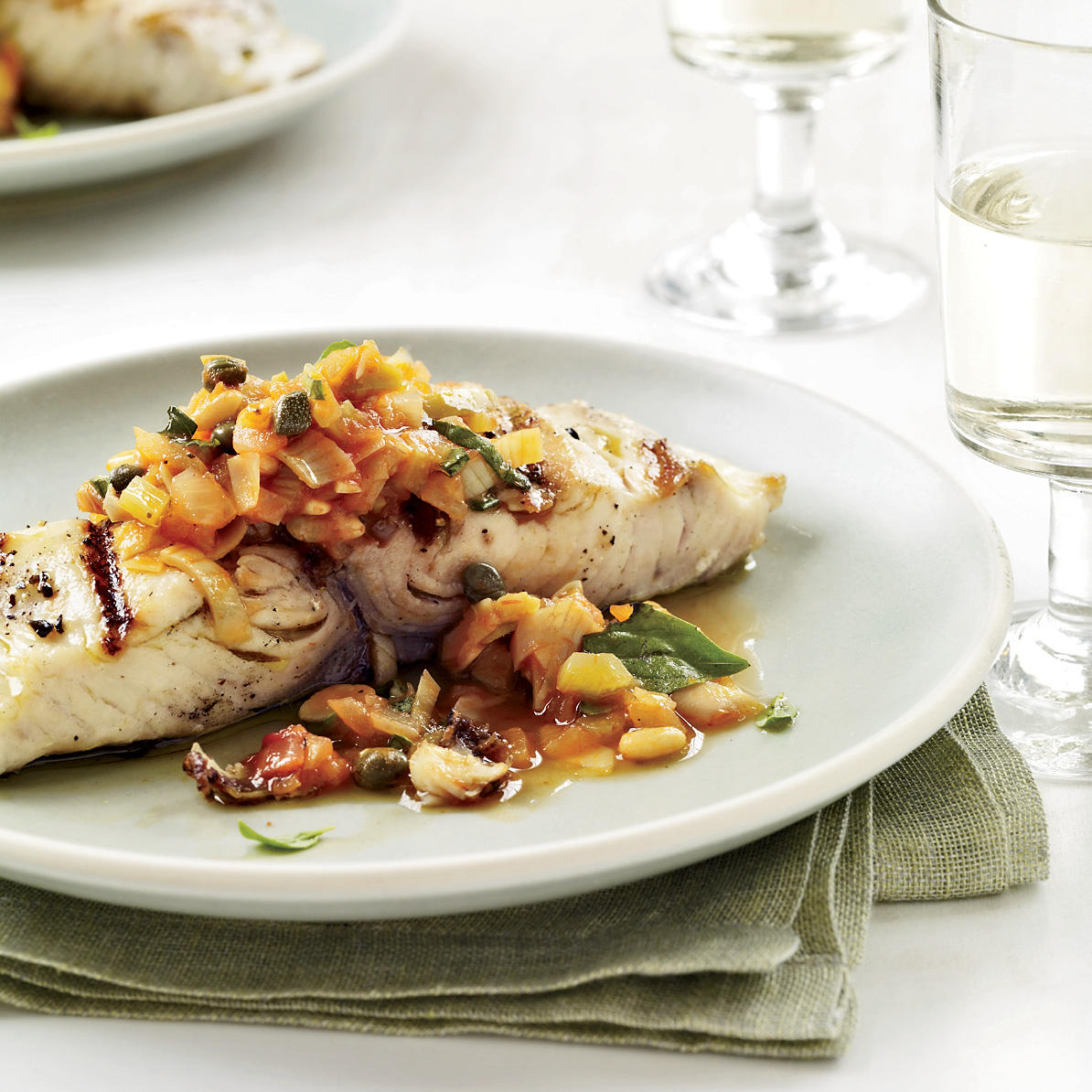 Grilled fish with artichoke caponata recipe michael for Grilled fish recipes