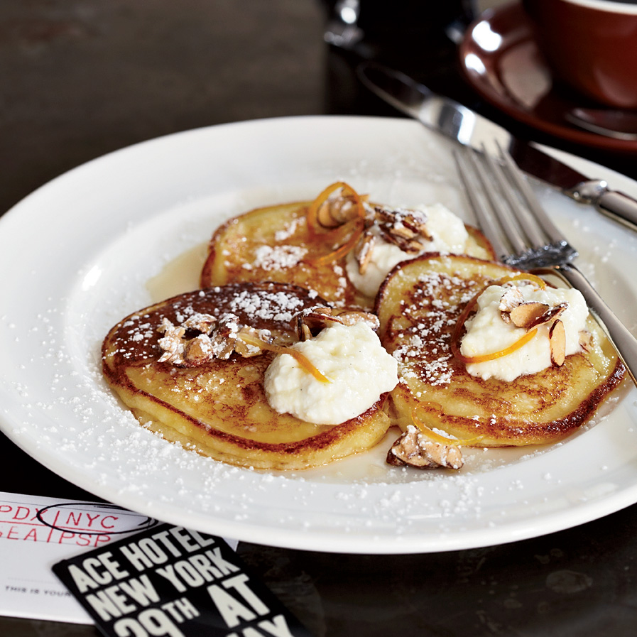 food wine the breslins ricotta pancakes with orange syrup - Valentines Brunch Ideas