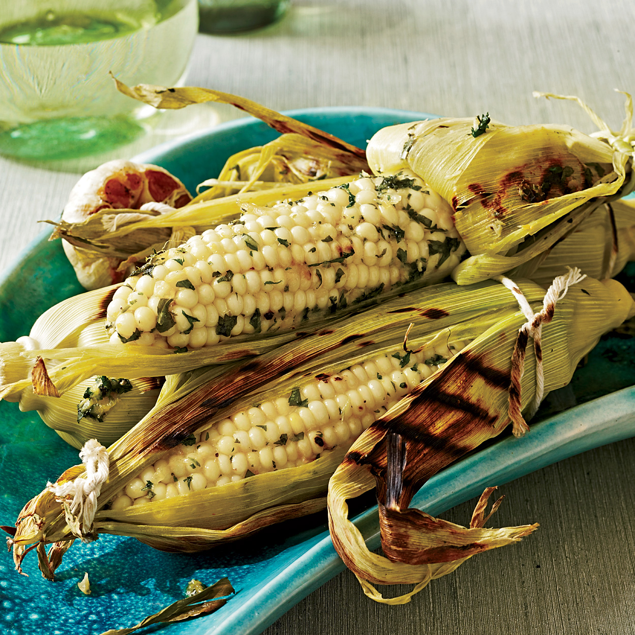 Grilled Corn on the Cob with Roasted Garlic and Herbs Recipe - Michel ...