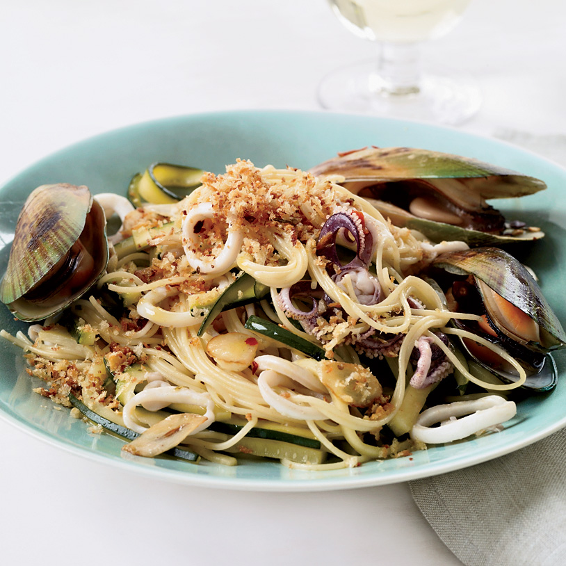 Angel Hair Pasta With Squid Mussels And Zucchini Recipe Michael