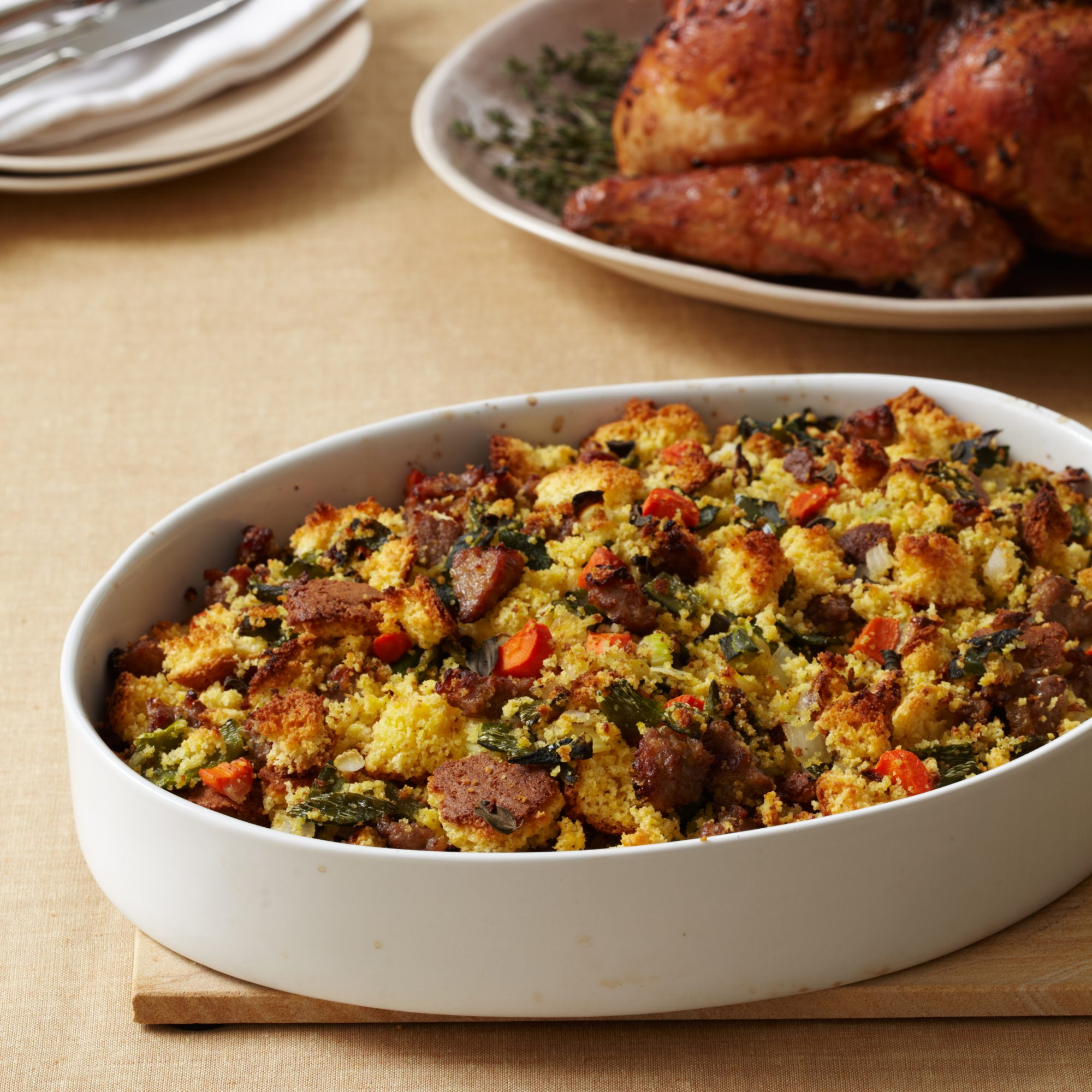 Corn Bread Stuffing with Country Sausage Recipe - Robert Del Grande ...