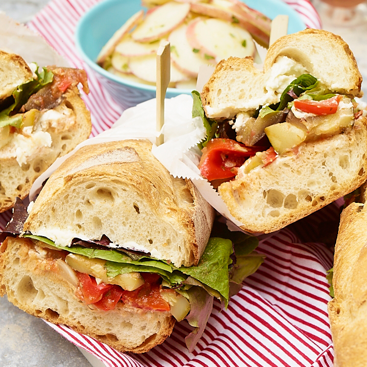 Ratatouille and goat cheese subs recipe matt neal food for Picnic food ideas for large groups