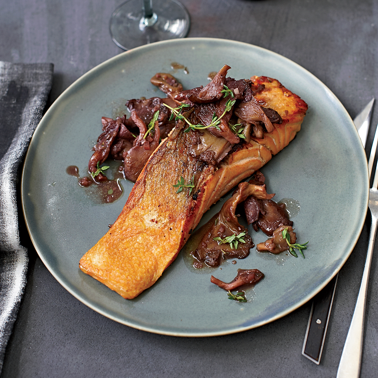 Roasted Salmon With Oyster Mushrooms In Red Wine Recipe
