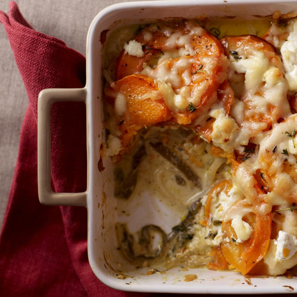 Healthy Squash Gratin with Poblanos & Cream Recipe for Thanksgiving