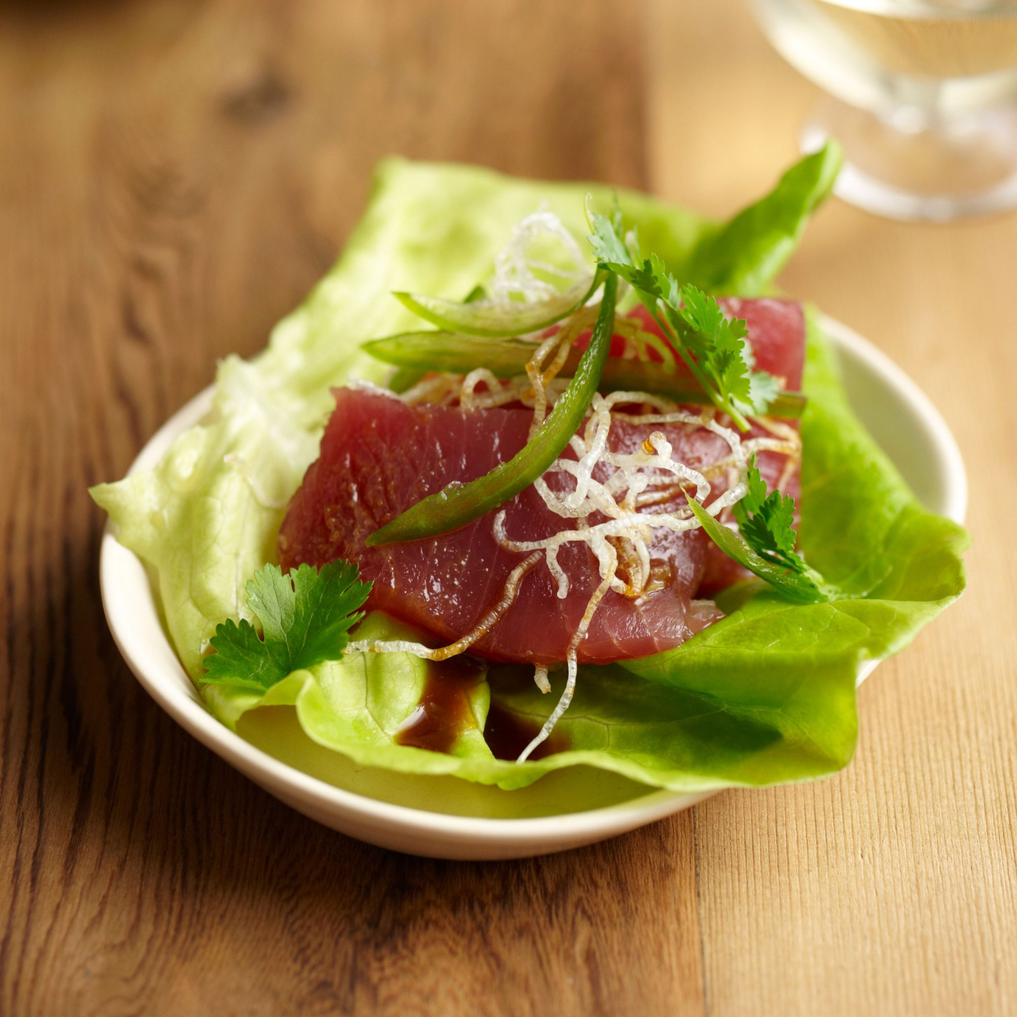 Fresh tuna and butter lettuce wraps with yuzu ponzu recipe for Fresh tuna fish recipes