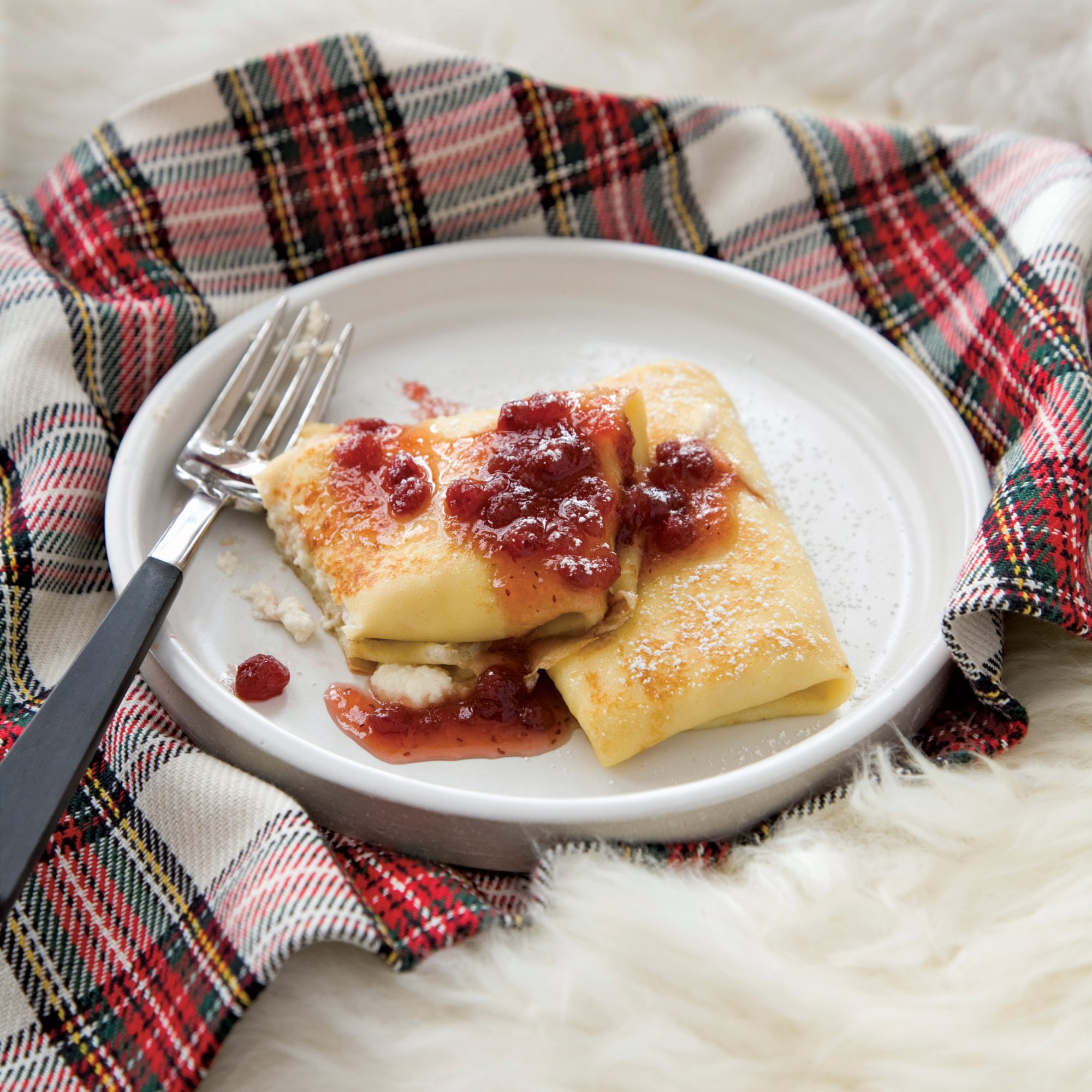 Ricotta Blintzes with Lingonberry Syrup