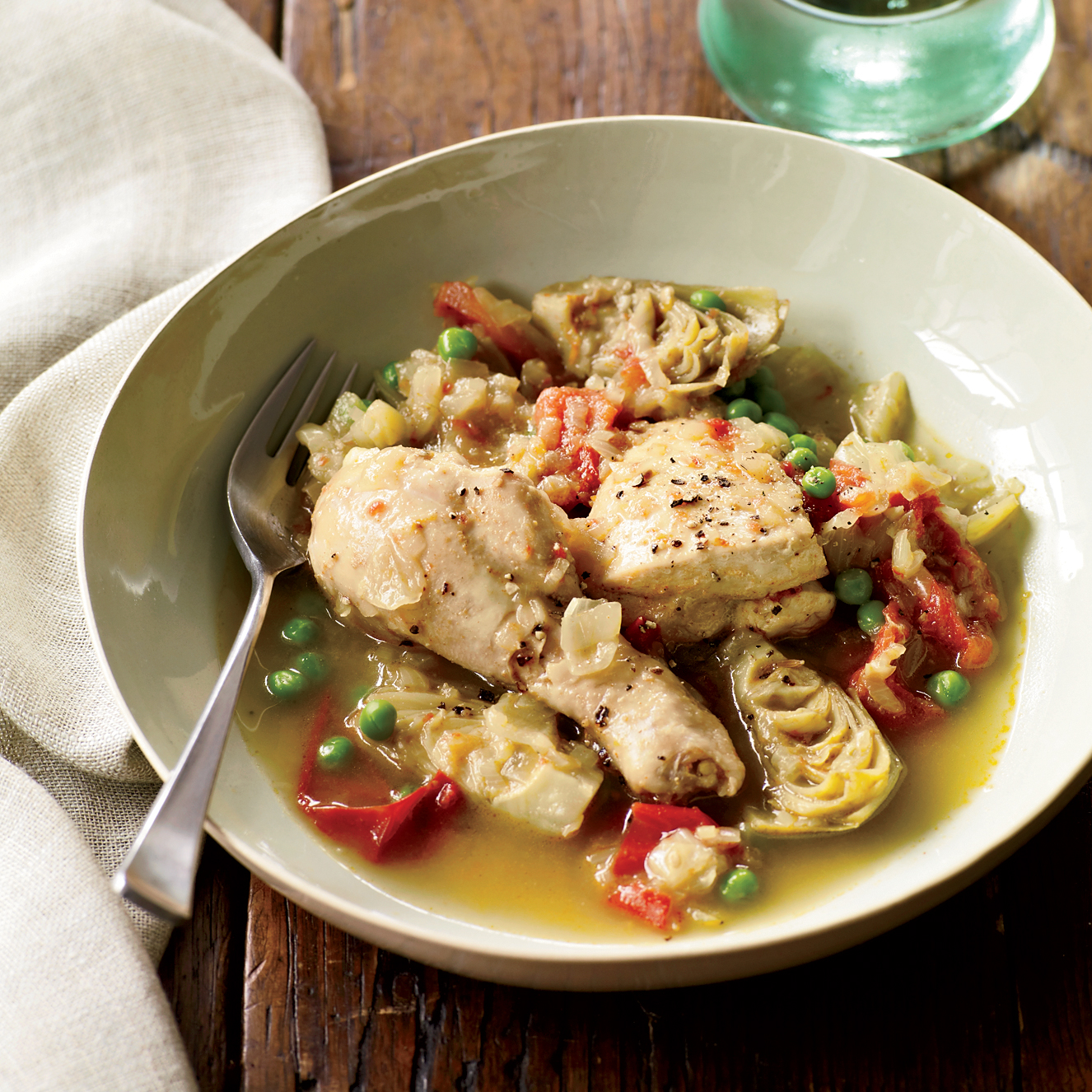 How to Cook Artichokes: Chicken Tagine with Artichoke Hearts and Peas